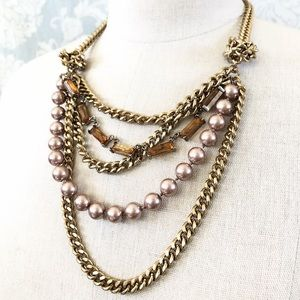 TALBOTS pearl, glass stone & chain knot necklace